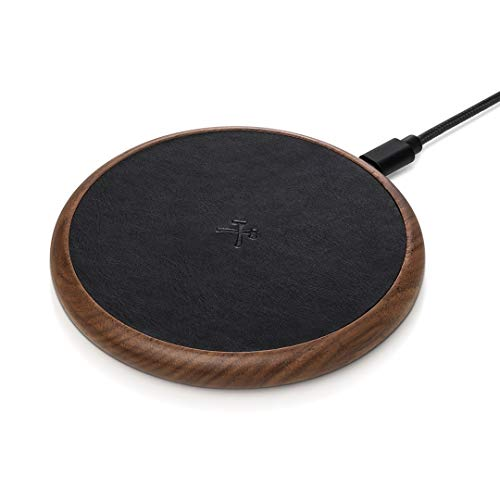 Woodcessories EcoPad – Fast Wireless Charger, induktive Ladestation (Walnuss/Leder)